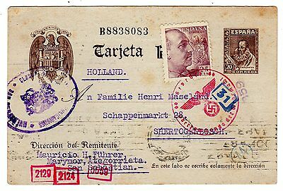1943 Spain to Netherlands Censored x 2 Uprated Stationery Card.