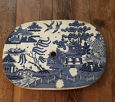 """13"""" Blue Willow Meat Drainer"""