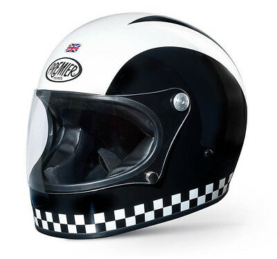 Premier Trophy Helmet Black White Retro Motorbike Motorcycle Helmet SALE