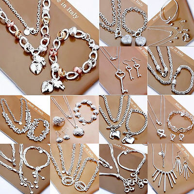 New  925S Solid Silver Jewellery Set Necklace Bracelet Ring Earrings Sets Gift