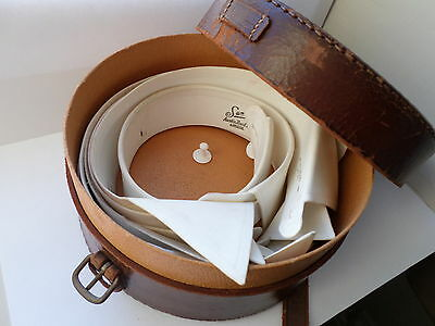 Vintage early/mid 20th century leather collar box & 7 white Tuxedo dress collars