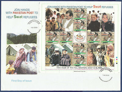 Pakistan 2009 Mnh Fdc Help Swat Refugees Refugee Conflict Zone Child Children
