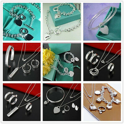 2017Classic Gift Solid 925Sterling Silver Jewelry Necklace Bracelet Earrings set