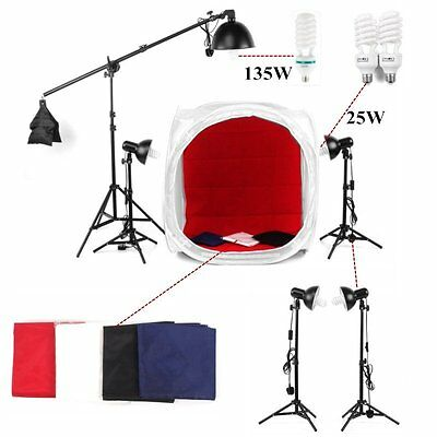 Photo Studio Continuous Lighting Photography 90cm SoftBox Backdrop Cube Tent Kit