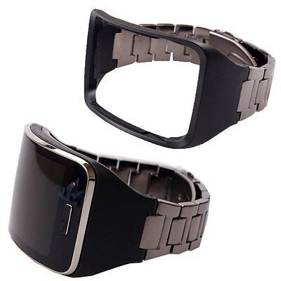 Stainless Steel Watch Band Link Strap & Holder For Samsung Gear S SM-R750 Black