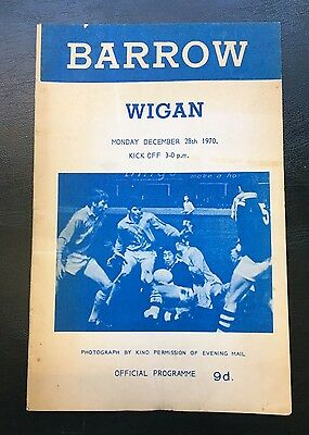 Barrow Vs Wigan Rugby Programme 1970