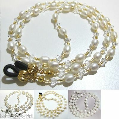 Genuine Pearl Sunglasses Eyeglass Spectacles Glasses Holder Cord Chain Strap