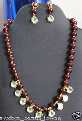 Gemstone Metal Ruby & Kundan Necklace Set
