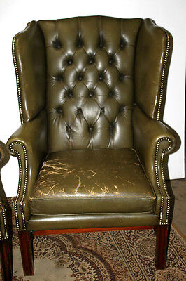 Chesterfield Buttoned Wing Back Leather Armchair - FREE Shipping [PL1422A]