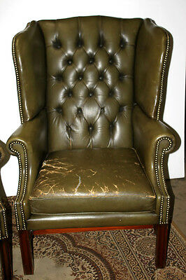 Edwardian Buttoned Wing Back Leather Armchair - FREE Shipping [PL1422A]