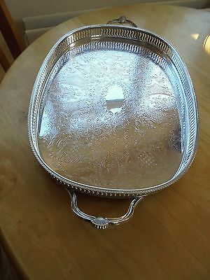 Lovely Silver Plated on Copper Twin Handled Gallery Tray