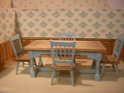 1/12th Dollshouse miniature, Part Painted, Refectory Table & 4 Chairs