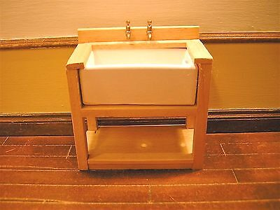1/12th Dollshouse Miniature Handmade Sink Unit with taps