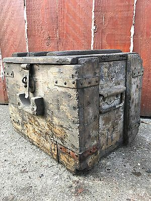 Old Vintage Antique Victorian Chest Trunk Crate Industrial Architectural