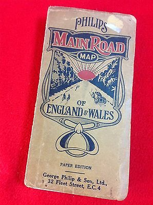 Vintage : PHILIPS Main Road Map of England & Wales : 15 Mile to Inch Paper Map