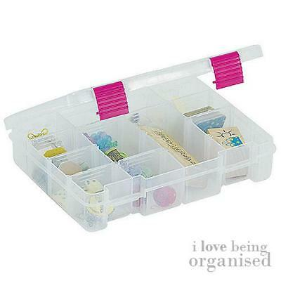 Clear Plastic Deep Storage Organiser Customisable Compartments   Pink Latch Crea