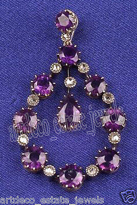 1.70cts ROSE CUT ROUND DIAMOND AMETHYST .925 STERLING SILVER / PENDANT