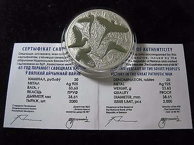 20 Rubles 2010 Belarus - 65th Anniversary Victory in the WWII 1 oz Silver