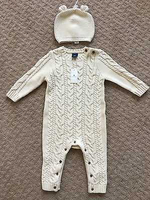 NEW Baby Gap Cable Knit Ivory Outfit And Bear Hat One Piece Sweater nwt