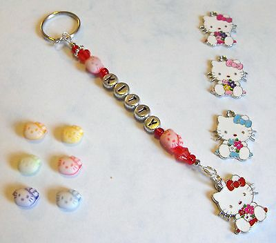 Girls Personalised NAME Hello Kitty bag charm/ keyring. Choose colour. Hand-made