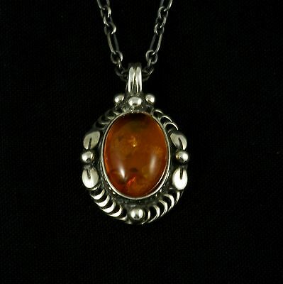 Georg Jensen Sterling Silver Pendant of the Year 1995 with Amber