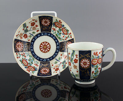 Worcester Porcelain Queens Pattern Coffee Cup & Saucer c1770