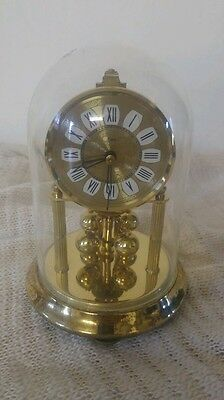 Vintage glass domed kein anniversary brass clock for repair