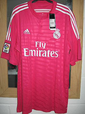 Bnwt Official Adidas Real Madrid Away Pink Football Shirt - Mens L - Rrp £60