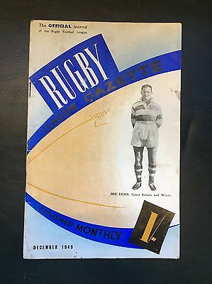 The Official Journal Of The Rugby Football League, Rugby League Gazette 1949
