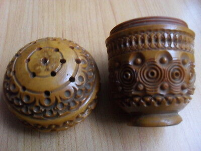 Antique 19th C Standing Coquilla Nut Pounce Pot Spice Shaker