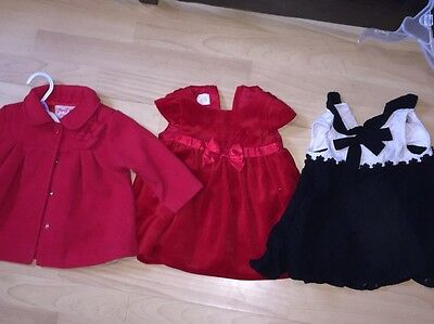 Two little girls dresses and a red coat age 6-9 months Next, H and M