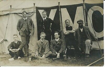 Social History, Group Of Lads In Front Of Tent At Y.m.c.a. Camp, Photo Postcard