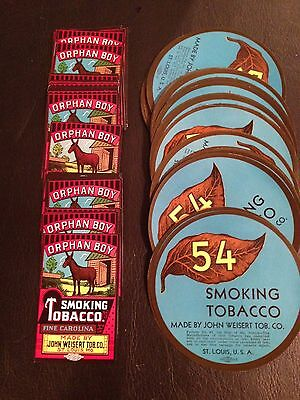 Vintage Tobacco Labels New Old Stock- Lot of 100 MINT !!