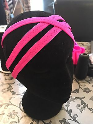Freestyle Disco Dance Costume 3 Band Cross Over Head Piece In Flo Pink Fit 54cm