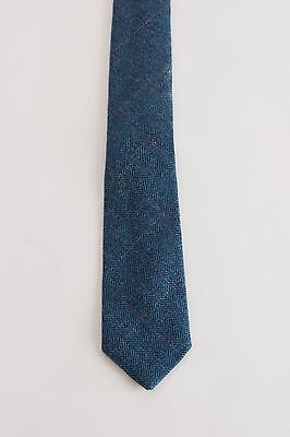 Mens Marc Darcy Designer Blue Tweed Check Tie