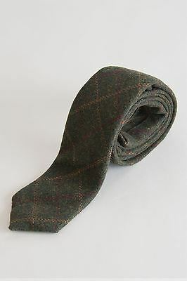 Mens Marc Darcy Designer Olive Green Tweed Tie