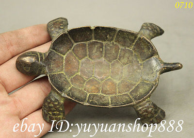 Folk Collect Chinese Bronze Practise Divination Augury Turtle Statue Figurine