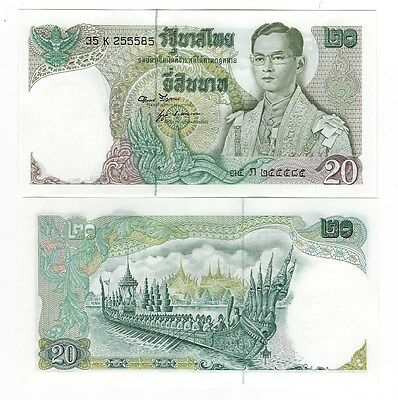 Thailand 20 Baht 1971-1981 Series 11 Sign 52 Unc P 84