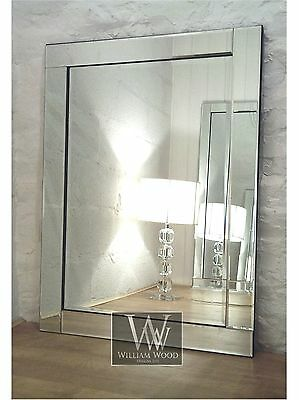 "Blenheim Silver Glass Framed Rectangle Bevelled Wall Mirror 48"" x 32"" X Large"