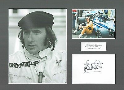 Sir Jackie Stewart Hand Signed Card Mount Display 3x F1 Formula One Champion COA