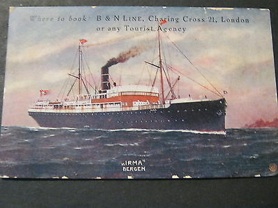 "EARLY ADVERT CARD FOR B & N LINE  SHOWING ""IRMA"" BERGEN for 1 WEEK IN NORWAY"