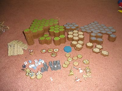 Huge Heroscape Lot 294 Hex Terrain Game Pieces Grass Rock Sand Green Blue Gray