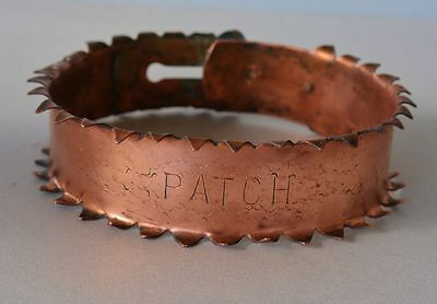 """Antique Spiked Copper Dog Collar  ~ Dog Named """"Patch"""""""