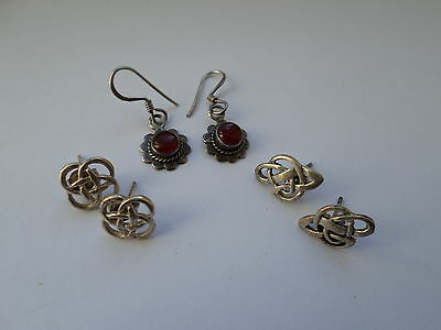 3 pairs sterling silver earrings inc Celtic knot - 6.2 grams