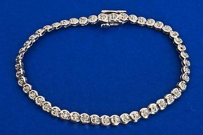 """A SOLID 9ct WHITE GOLD 0.25ct NATURAL DIAMOND BRACELET, 7"""" LENGTH"""
