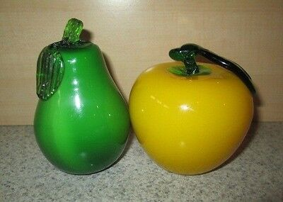 Murano Style Vintage Glass Fruit Yellow Apple Green Pear Set Lot Bright Color