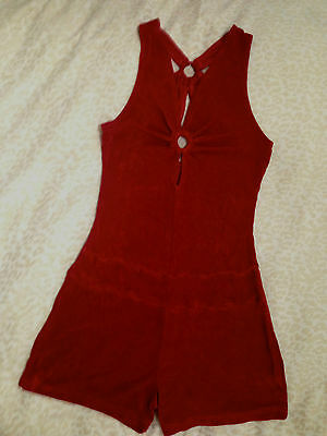VINTAGE 1960s MOD STYLE cherry red halter neck slinky playsuit S 8/10