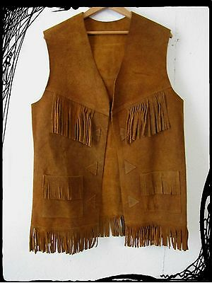 Leather Fringe Vest Western Vintage Hippie Biker Brown Men's Large/44