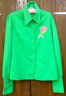 Stunning Vintage MISS PIGALLE 1970's Green Shirt Dagger Collar Size 14/16