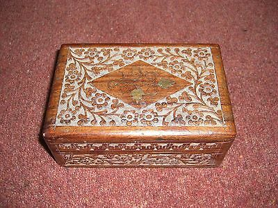 Vitage Carved Indian Wooden Box with Brass Floral Inlay on Lid